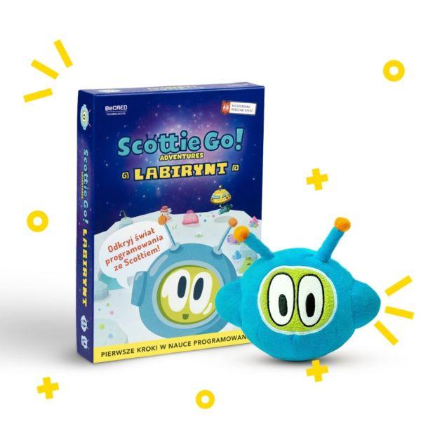 maskotka scottie i pudełko z grą scottie go adventures labirynt maskotka nauka programowania od podstaw